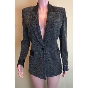 ST JOHN Boucle Knit Leather Trim Long Jacket